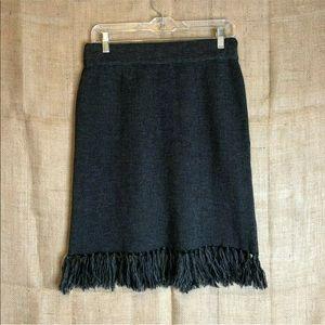 Fenn Wright Manson Skirt SZ L Black A Line Fringe